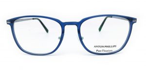 A pair of blue Anton Phillps glasses photographed by Sarah Edwards as an example of good product photography.