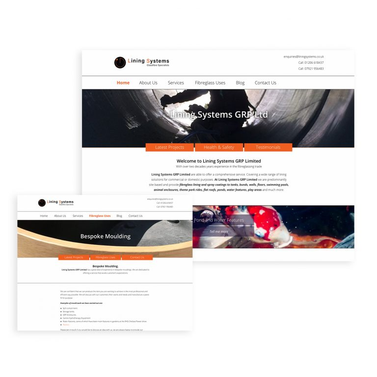 Screen grabs taken from the Lining Systems website, designed by Sarah Edwards Design.