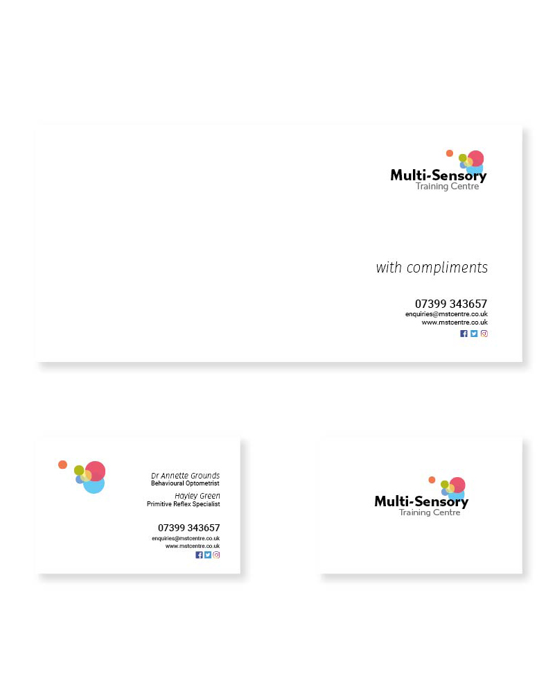 Logo and headed stationery designed by Sarah Edwards Design for the Multi-Sensory Training Centre