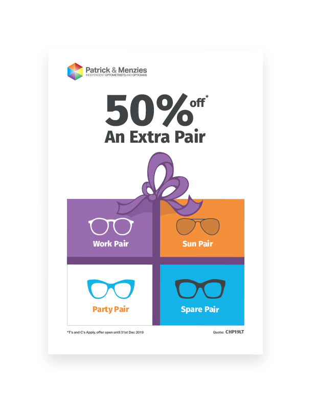 Poster using a strong brand developed for Patrick & Menzies opticians by Sarah Edwards Design.