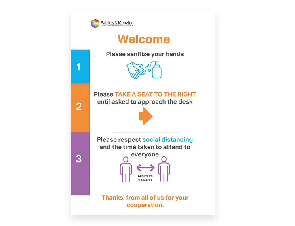 Poster designed by Sarah Edwards Design for Patrick & Menzies explaining Covid safety measures.