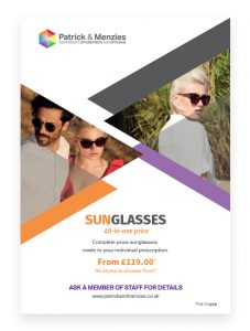 Poster designed for Patrick & Menzies opticians by Sarah Edwards Design.