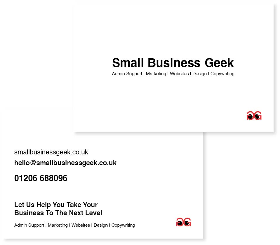 Business cards and logo for Small Business Geek | Created by Sarah Edwards Design
